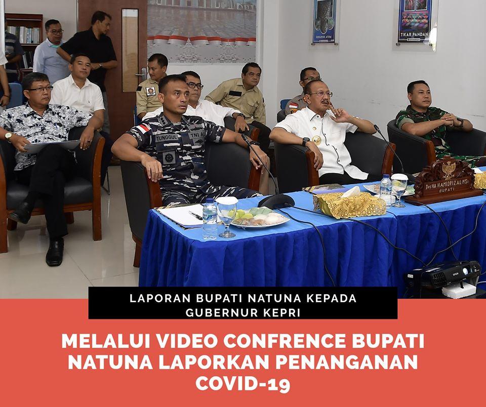 You are currently viewing Bupati Natuna Laporkan Penanganan Covid-19 kepada Gubernur Kepri melalui Video Conference
